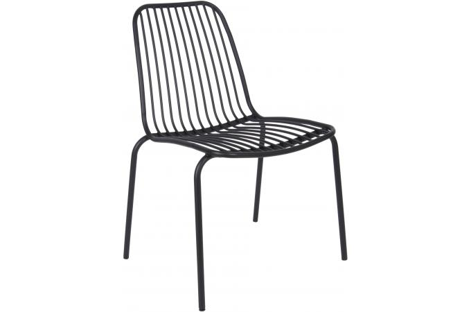 Chaise de Jardin Structure Filaire en Métal Noir LANA