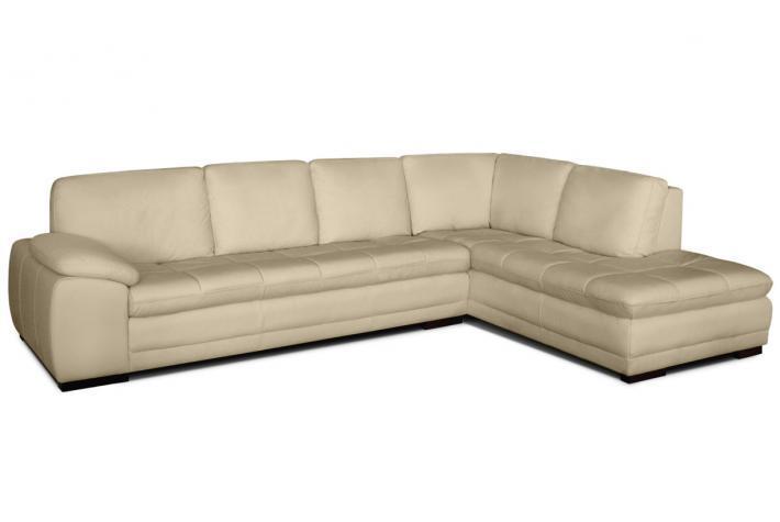 Canap d 39 angle droit 5 places en cuir milan design pas for Canape cuir beige