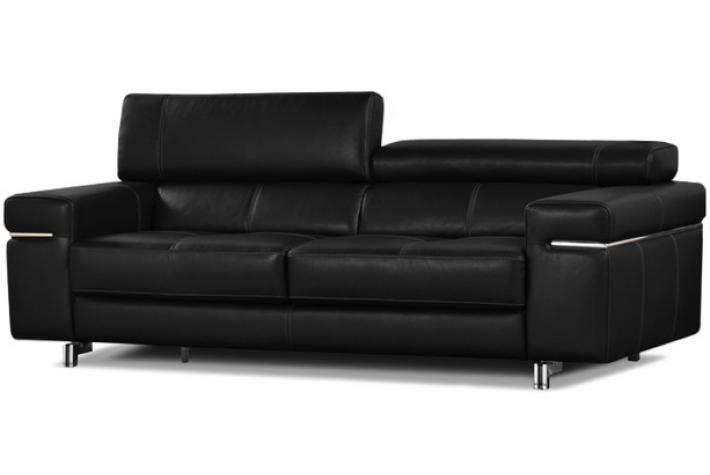 Canap 3 places en cuir atlanta design pas cher sur sofactory - Canape noir 3 places ...