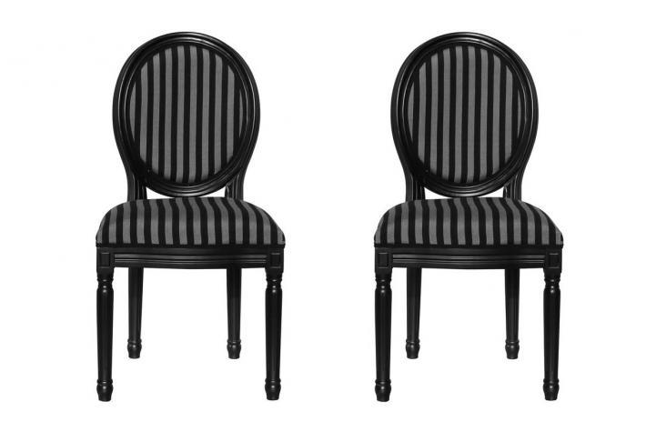 lot de 2 chaises m daillon marie antoinette noir gris design pas cher sur sofactory. Black Bedroom Furniture Sets. Home Design Ideas