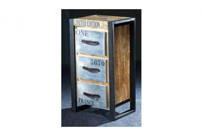 Colonne 3 tiroirs en bois et m tal chrose design sur sofactory for Tiroir metal
