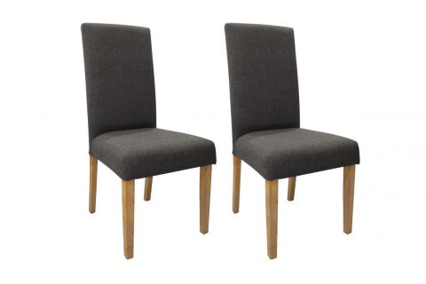 Lot de 2 chaises SHARON Gris - Naturel