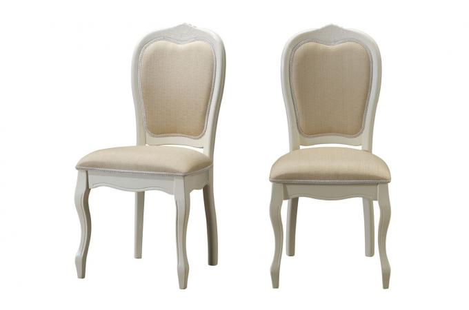 lot de 2 chaises mdaillon en tissu coloris cru princesse - Chaise Baroque