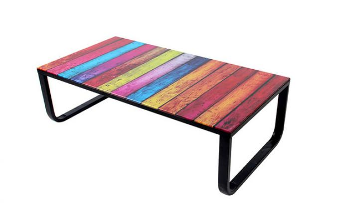 Table basse avec plateau verre rainbow design sur sofactory Table basse originale design