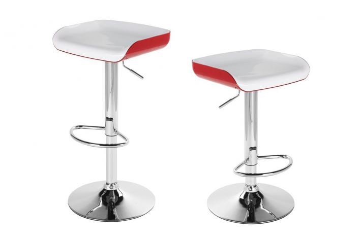 lot de 2 tabourets de bar fizz blanc et rouge design pas. Black Bedroom Furniture Sets. Home Design Ideas