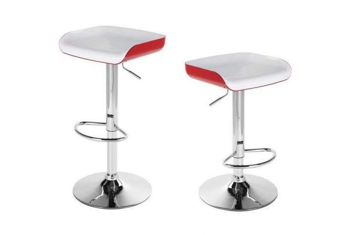 lot de 2 tabourets de bar fizz blanc et rouge design sur sofactory. Black Bedroom Furniture Sets. Home Design Ideas