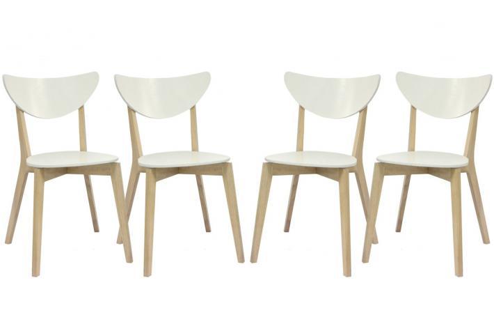 Lot de 4 chaises en bois koja blanc bois design pas cher sur sofactory - Chaise en bois blanc pas cher ...