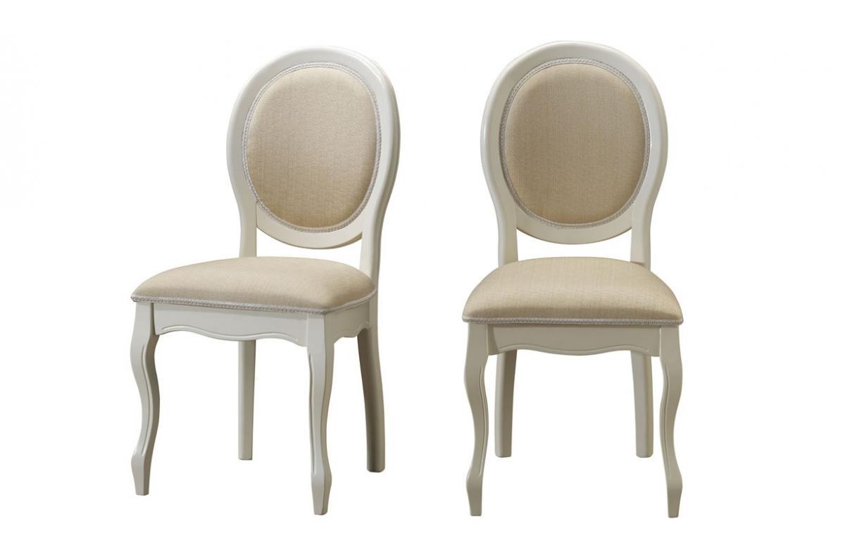 Lot de 2 chaises médaillon en tissu coloris écru ANTOINETTE
