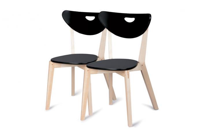 lot de 2 chaises en bois peppi laqu noir design sur sofactory. Black Bedroom Furniture Sets. Home Design Ideas