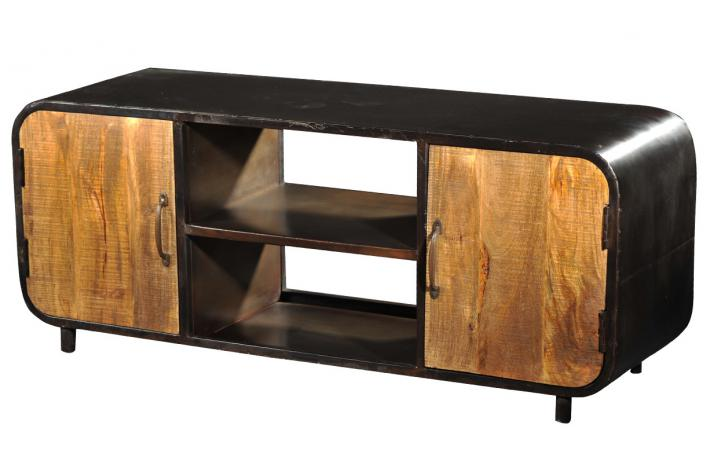 Meuble tv bois et m tal benzo design sur sofactory for Petit banc tv