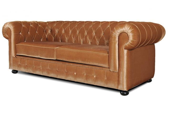 Canap 3 places chesterfield en velours chesterline design for Canape chesterfield en velours