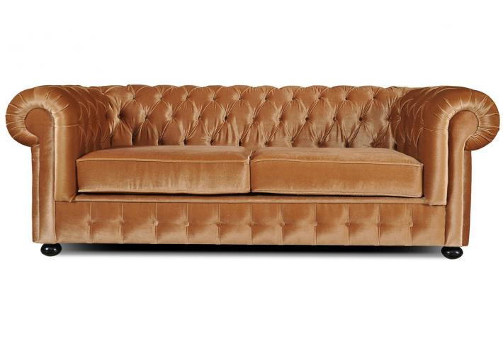Canap 3 places chesterfield en velours chesterline design - Canape chesterfield velour ...