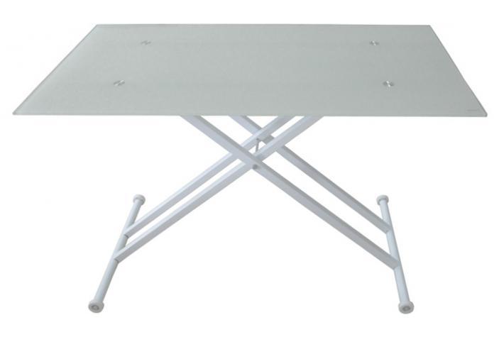 Table relevable blanche avec plateau verre lift design pas - Table relevable blanche ...