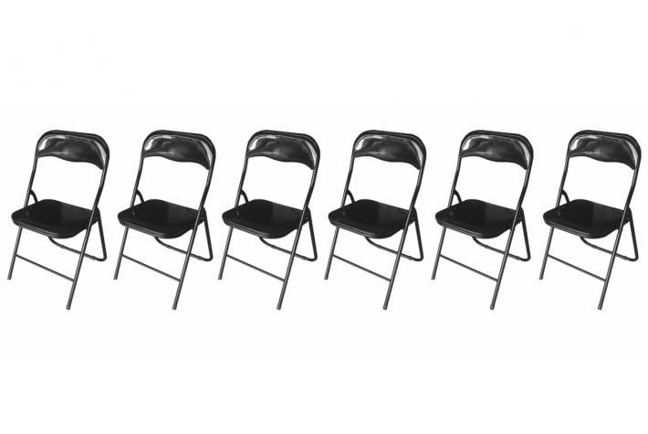 Lot de 6 chaises pliantes jackie noir design pas cher sur - Chaise pliante pas cher lot ...