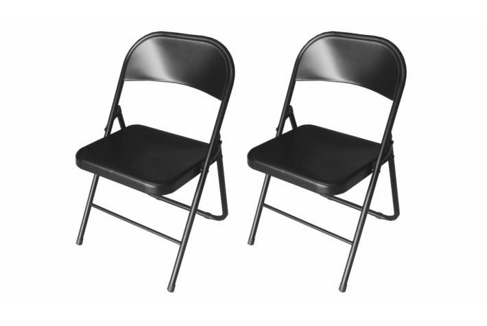 Lot de 2 chaises pliantes telma noir design pas cher sur sofactory - Lot chaises pliantes ...