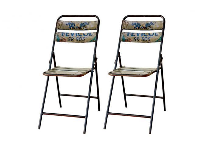 Lot de 2 chaises pliantes en m tal folding design pas cher sur sofactory - Lot de chaises pliantes ...