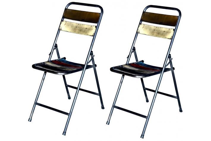 Lot de 2 chaises pliantes en m tal folding design en for Lot de chaises pliantes