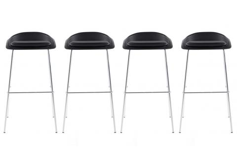 Lot de 4 tabourets de bar SINUS Noir