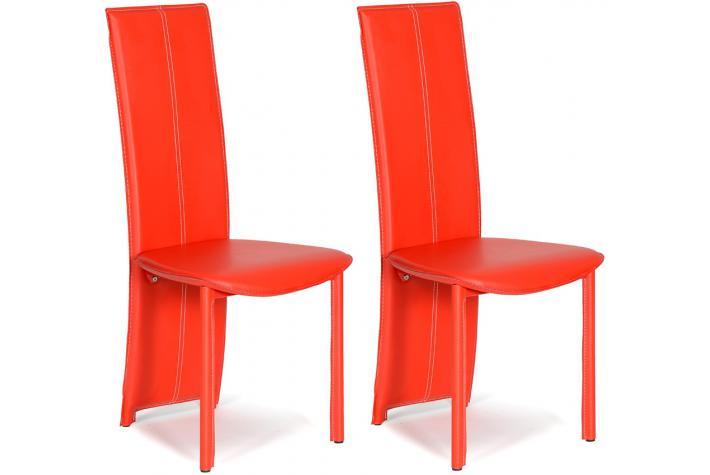 Lot de 2 chaises salvador rouge design pas cher sur sofactory for Chaise factory rouge