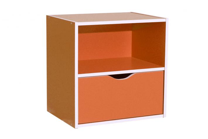 Bloc de rangement 1 niche et 1 tiroir kristof orange design pas cher sur sofa - Bloc de rangement ikea ...