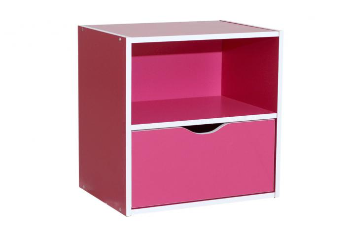 bloc de rangement 1 niche et 1 tiroir kristof magenta. Black Bedroom Furniture Sets. Home Design Ideas