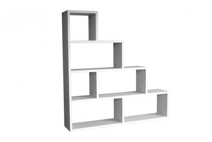 Etag re escalier 6 compartiments stairway blanc design pas - Etagere escalier blanc ...