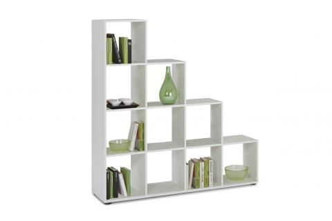 Tag re escalier 10 compartiments mega 2 blanc design sur - Etagere escalier blanc ...