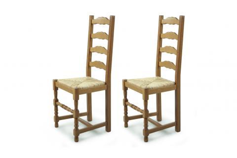 chaise en bois lot de 2 positano paille design pas cher sur sofactory. Black Bedroom Furniture Sets. Home Design Ideas