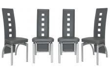 Lot de 4 Chaises en simili  CYRUS Gris