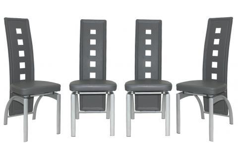 lot de 4 chaises en imitation cuir cyrus gris design pas cher sur sofactory. Black Bedroom Furniture Sets. Home Design Ideas