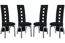 Lot de 4 Chaises en simili  CYRUS Noir