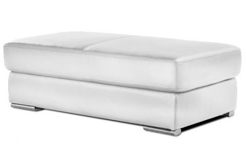 Pouf rectangulaire en cuir henri blanc design sur sofactory - Pouf cuir blanc ...