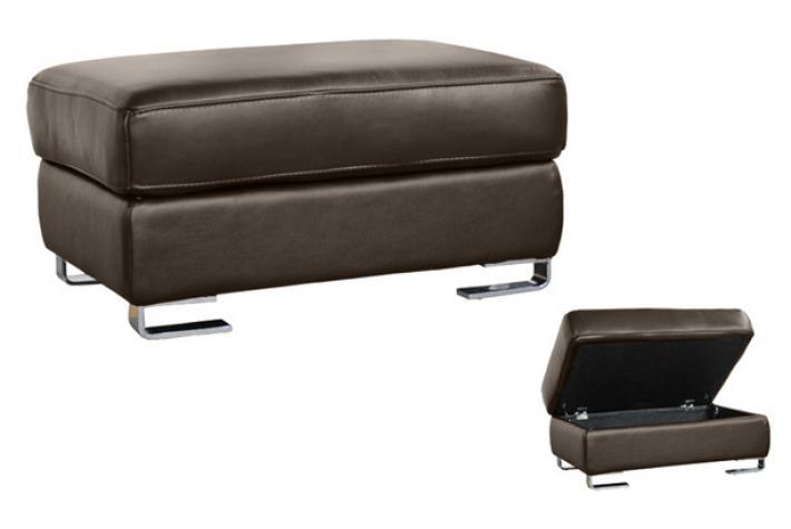 Pouf en cuir + coffre ANDY Taupe design sur SoFactory