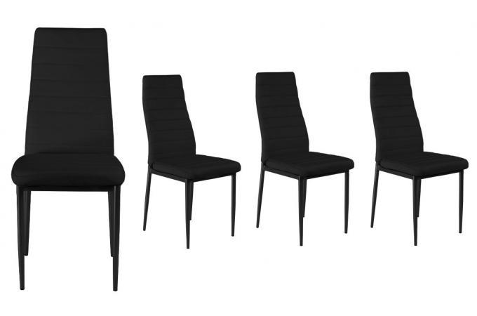 Chaise en simili lot de 4 gordon noir design sur sofactory - Chaise de sejour design ...