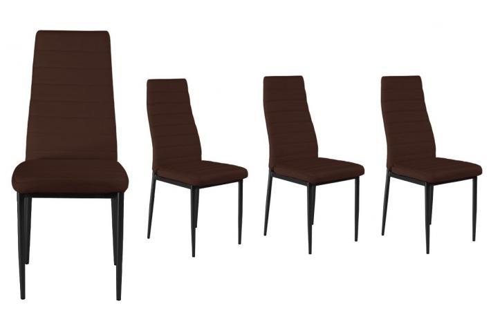 Chaise en imitation cuir lot de 4 gordon choco design - Chaise imitation cuir ...