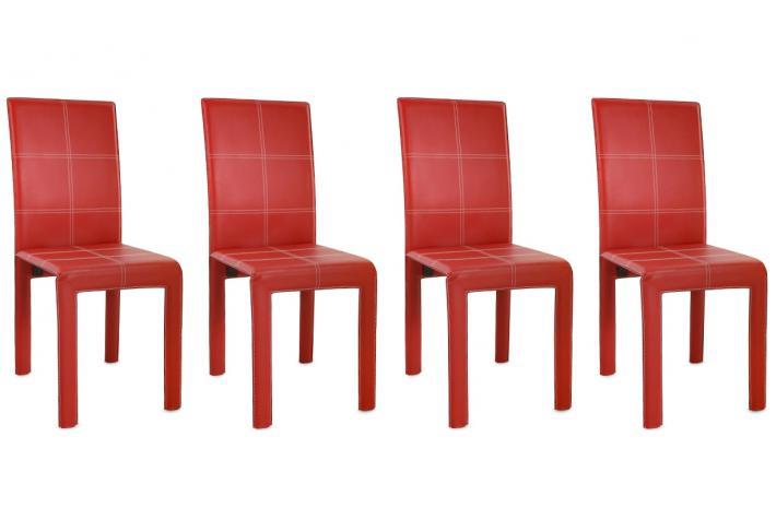Lot de 4 chaises mirage rouge design en direct de l 39 usine sur sofactory for Chaise factory rouge