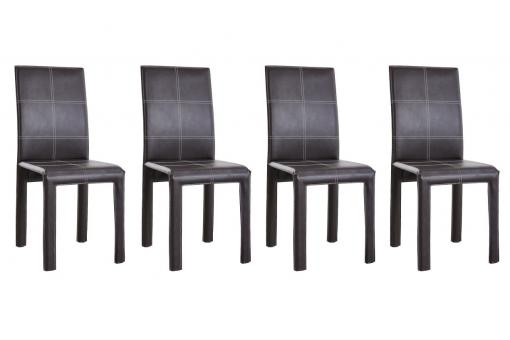 Lot de 4 chaises MIRAGE Choco Surpiqué Blanc SoFactory