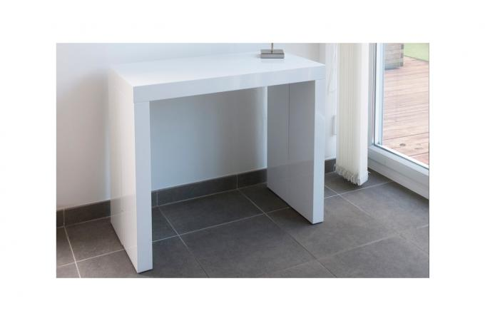 Console extensible blanche 225cm laque audrey design sur - Table console extensible blanc laque design ...