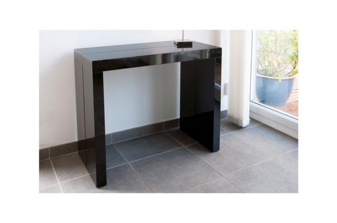 console extensible noire 225cm laque audrey design sur sofactory. Black Bedroom Furniture Sets. Home Design Ideas