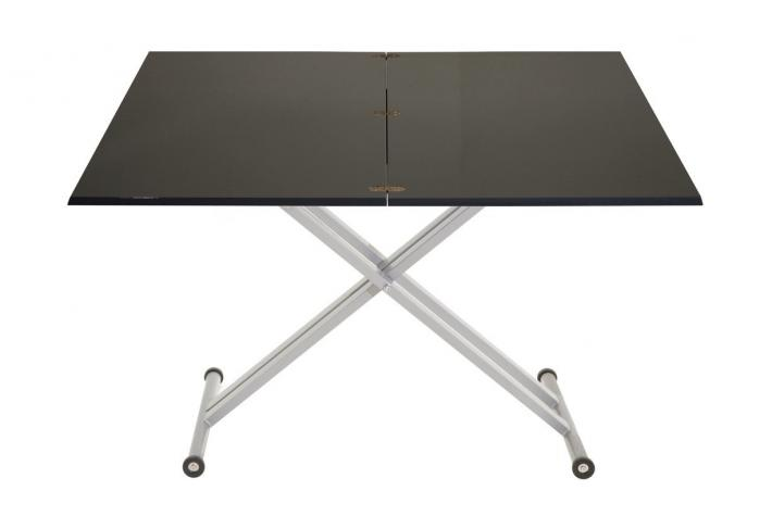 Table relevable extensible twister laqu noir design sur sofactory - Table extensible relevable ...