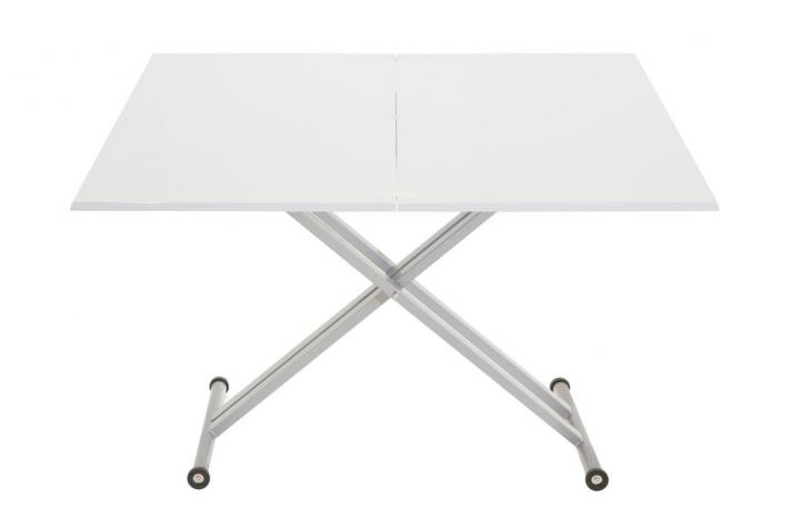 Table relevable extensible twister laqu blanc design sur for Table relevable blanc laque