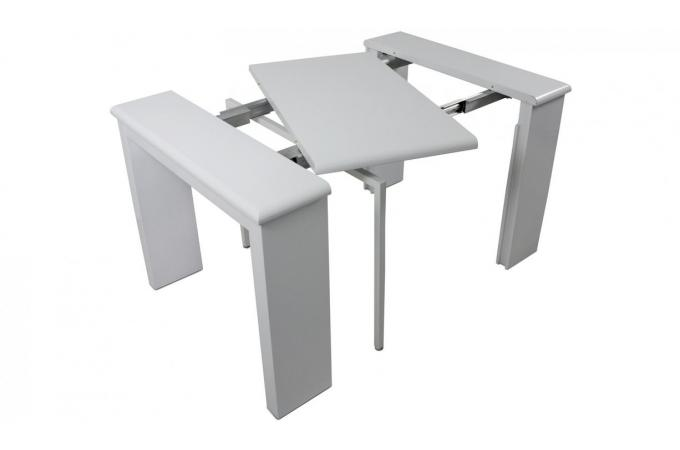 Console extensible blanche 195cm laque cynthia design sur - Table console extensible blanc laque design ...
