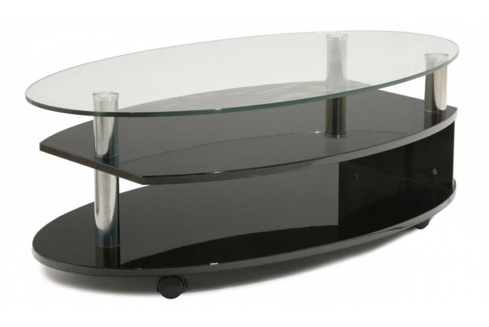 Table basse ovalie verre et laqu noir design pas cher sur sofactory - Table basse noir laque pas cher ...