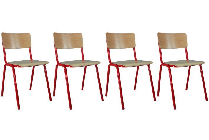 lot de 4 chaises ecolier rouge design pas cher sur sofactory. Black Bedroom Furniture Sets. Home Design Ideas