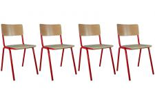 Lot de 4 chaises ECOLIER Rouge