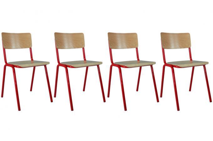 Lot de 4 chaises ecolier rouge design en direct de l 39 usine sur sofactory for Chaise factory rouge