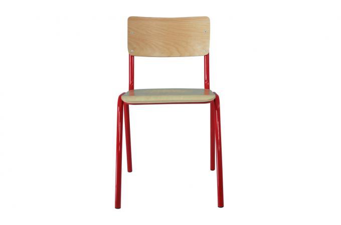 lot de 4 chaises ecolier rouge design sur sofactory. Black Bedroom Furniture Sets. Home Design Ideas