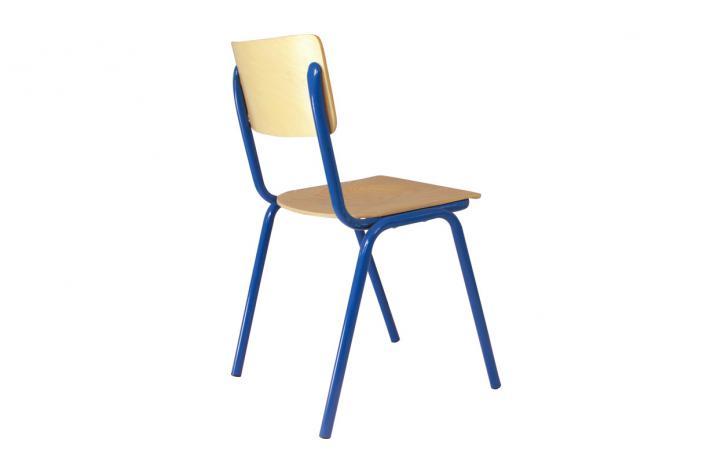 lot de 4 chaises ecolier bleu design pas cher sur sofactory. Black Bedroom Furniture Sets. Home Design Ideas