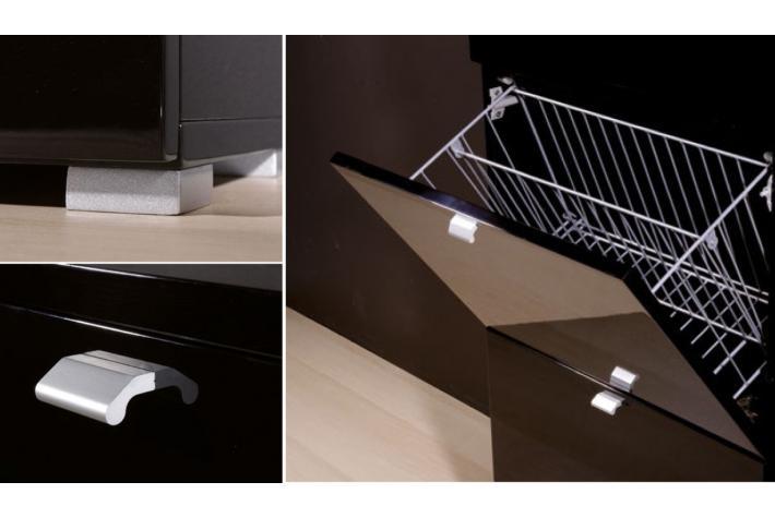 Meuble chaussures 3 abattants numana noir laqu design pas cher sur sofactory - Meuble chaussure noir laque ...