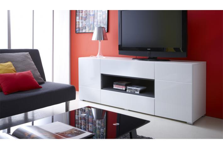 Meuble tv 2 portes et 2 tiroirs fausto design pas cher sur for Meuble 2 portes 2 tiroirs